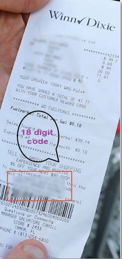 receipt of the Winn Dixie store