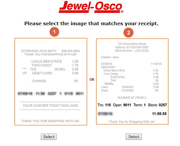 select receipt to start the jewelsurvey
