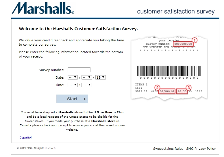 marshallsfeedback survey homepage