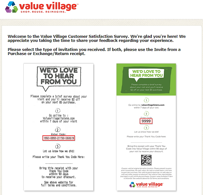 home page of value village listens