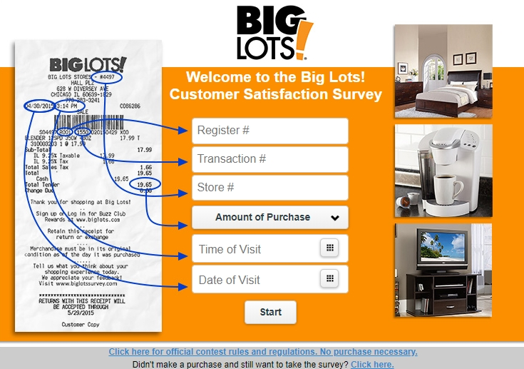 big lots survey homepage in english