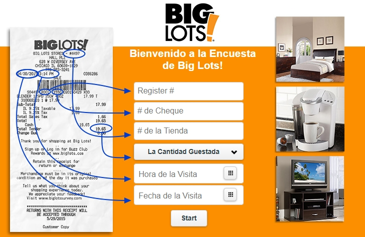 big lots surveypage in spanish