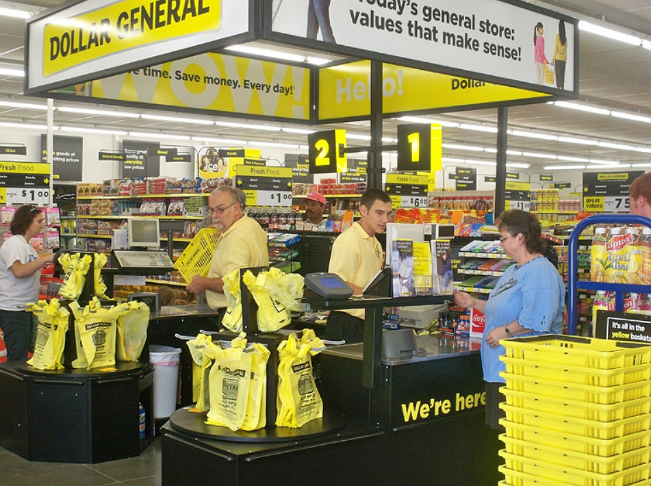 Payment counters of dollar general store