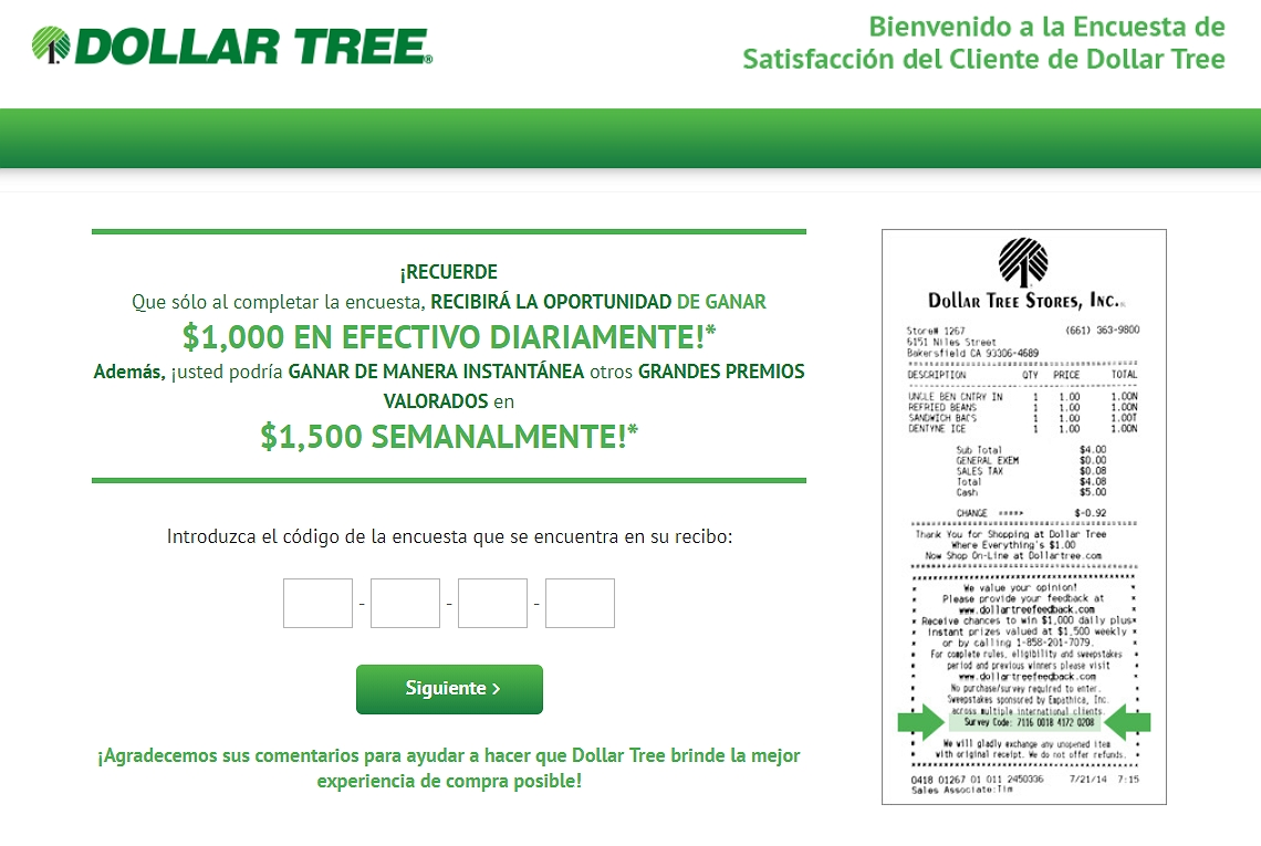 homepage of dallar tree feedback espanol survey