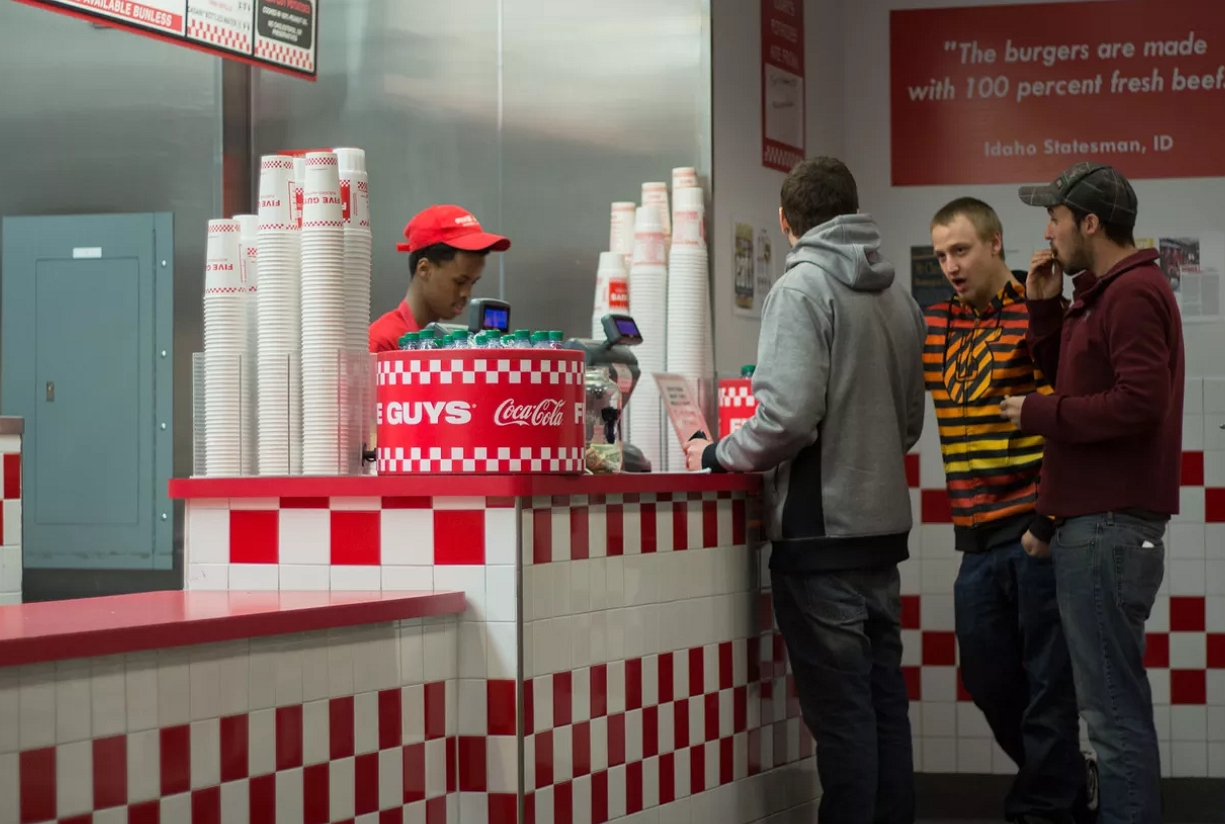 inside the five guys restaurant