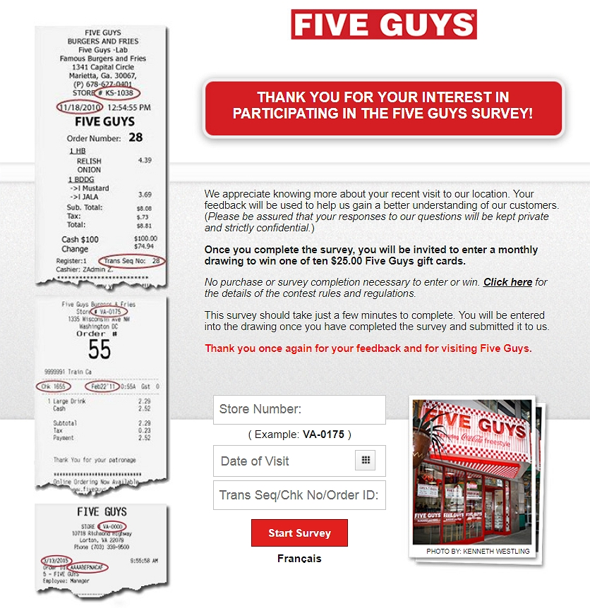 homepage of www.fiveguys.com/survey