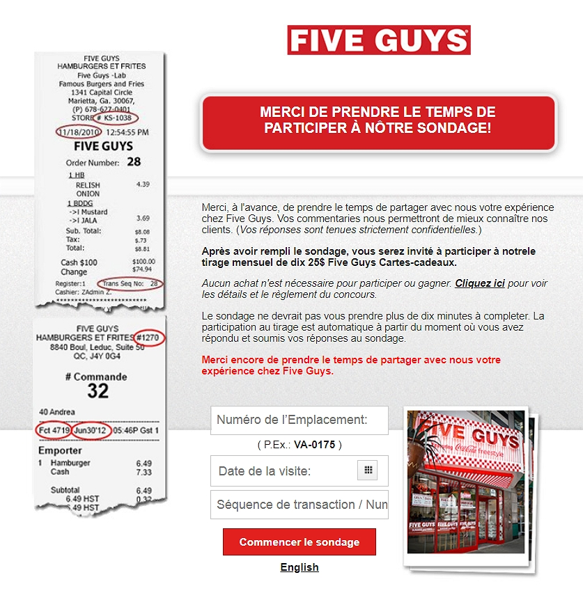 homepage of five guys feedback survey in français