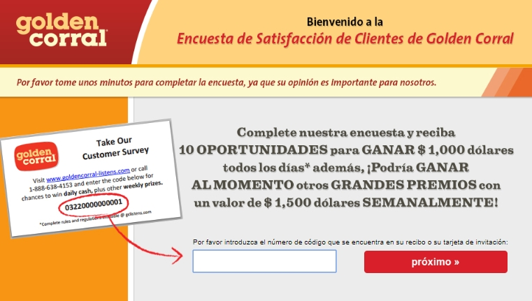 golden corral surveypage in spanish