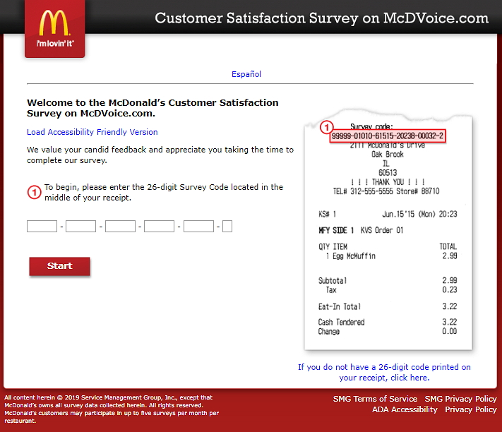 McDonald's Survey Homepage