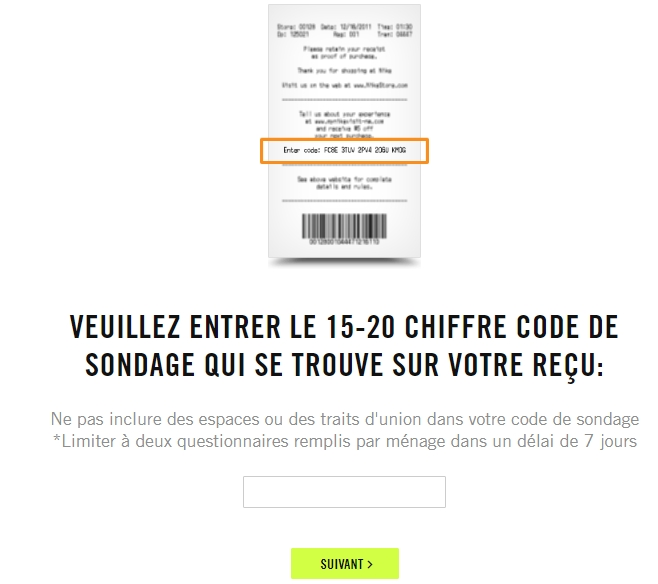 Nike survey page in french