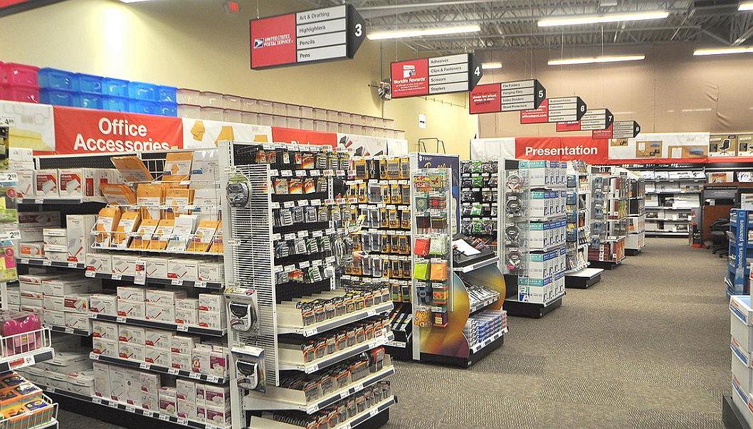 Office depot interior with accessories