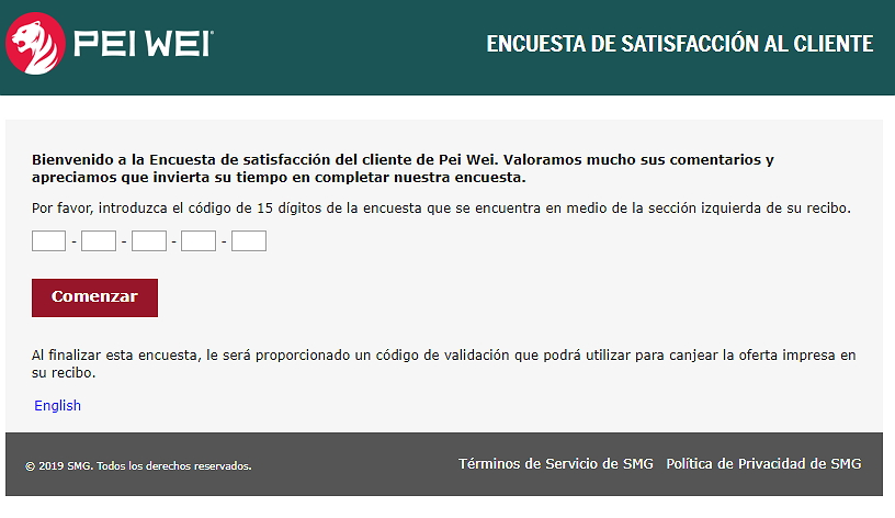 homepage of peiwei feedback espanol survey