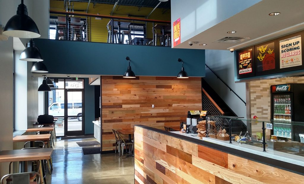 Interior design of qdoba mexican grill restaurant