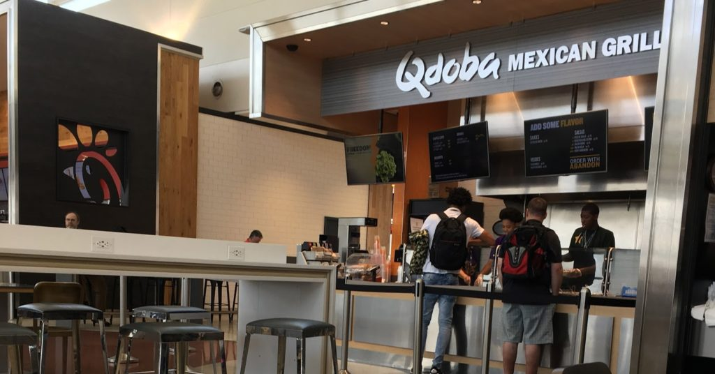 Inside the qdoba restaurant