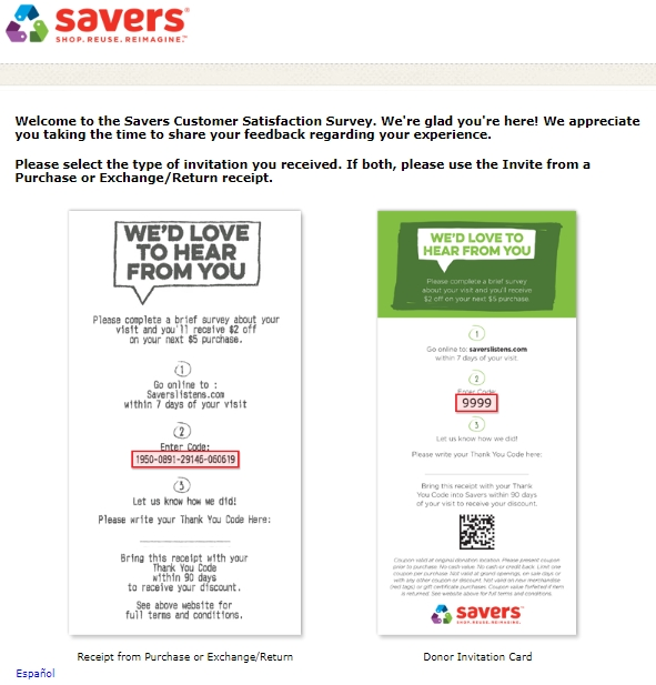 savers listens surveypage in spanish