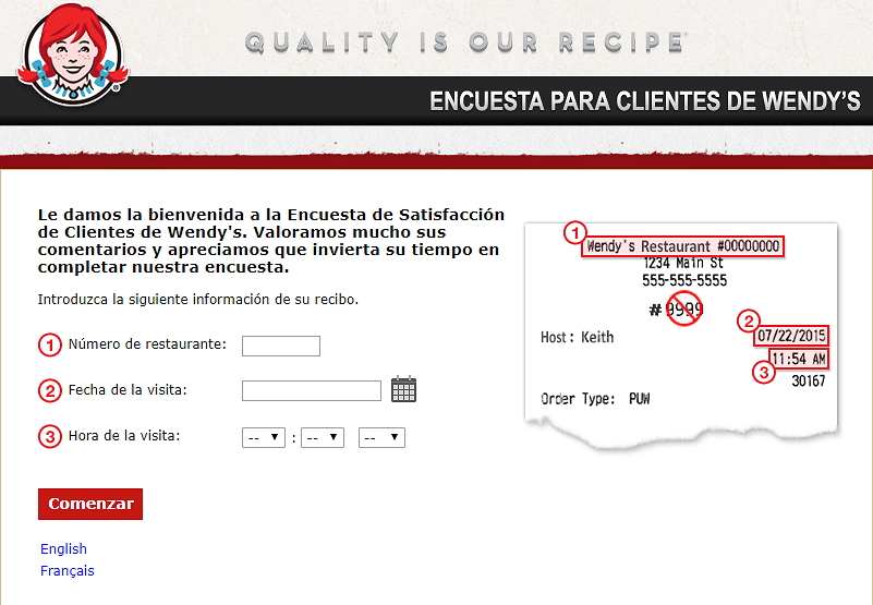 homepage of talktowendys espanol survey
