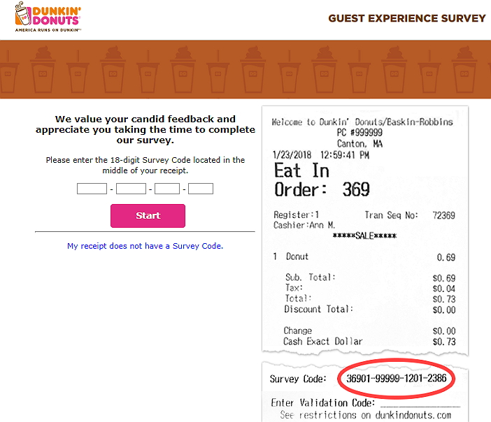 Telldunkin.com Survey Homepage