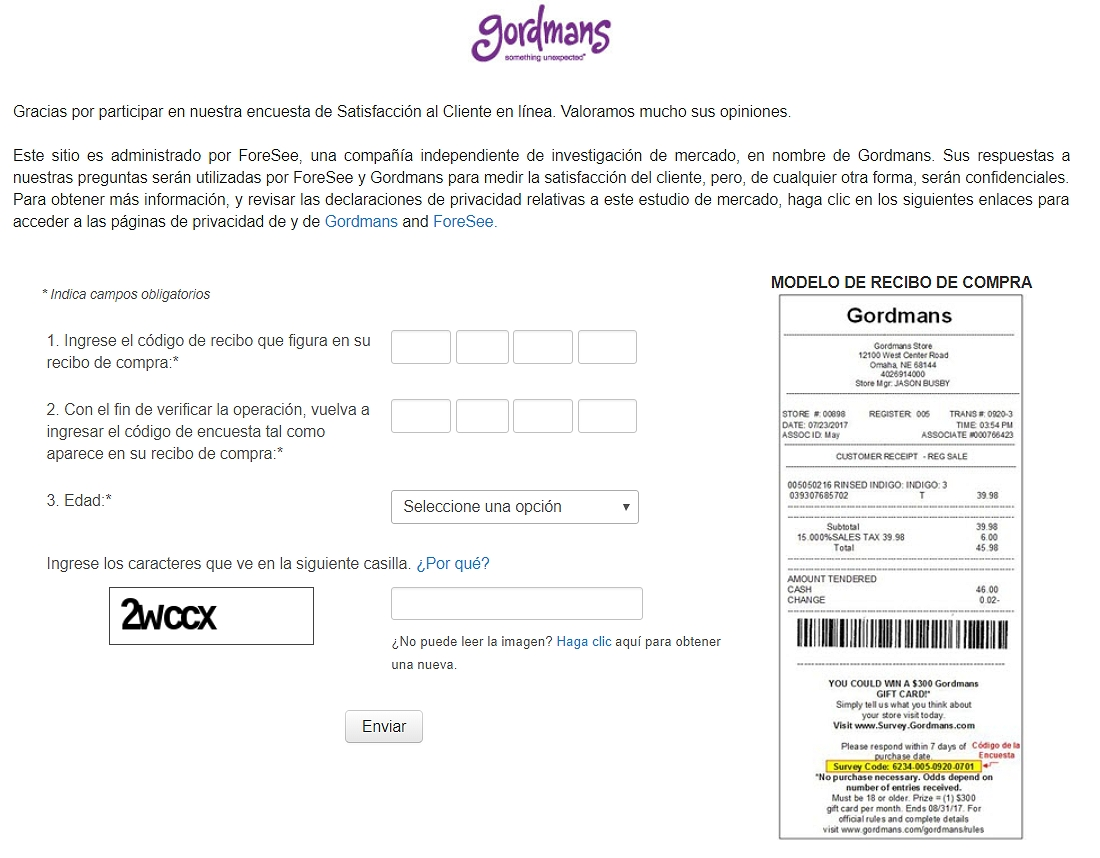homepage of Survey.gordmans.com español