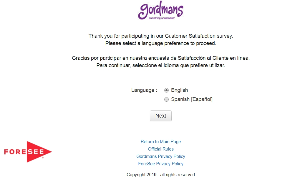Survey.gordmans.com homepage