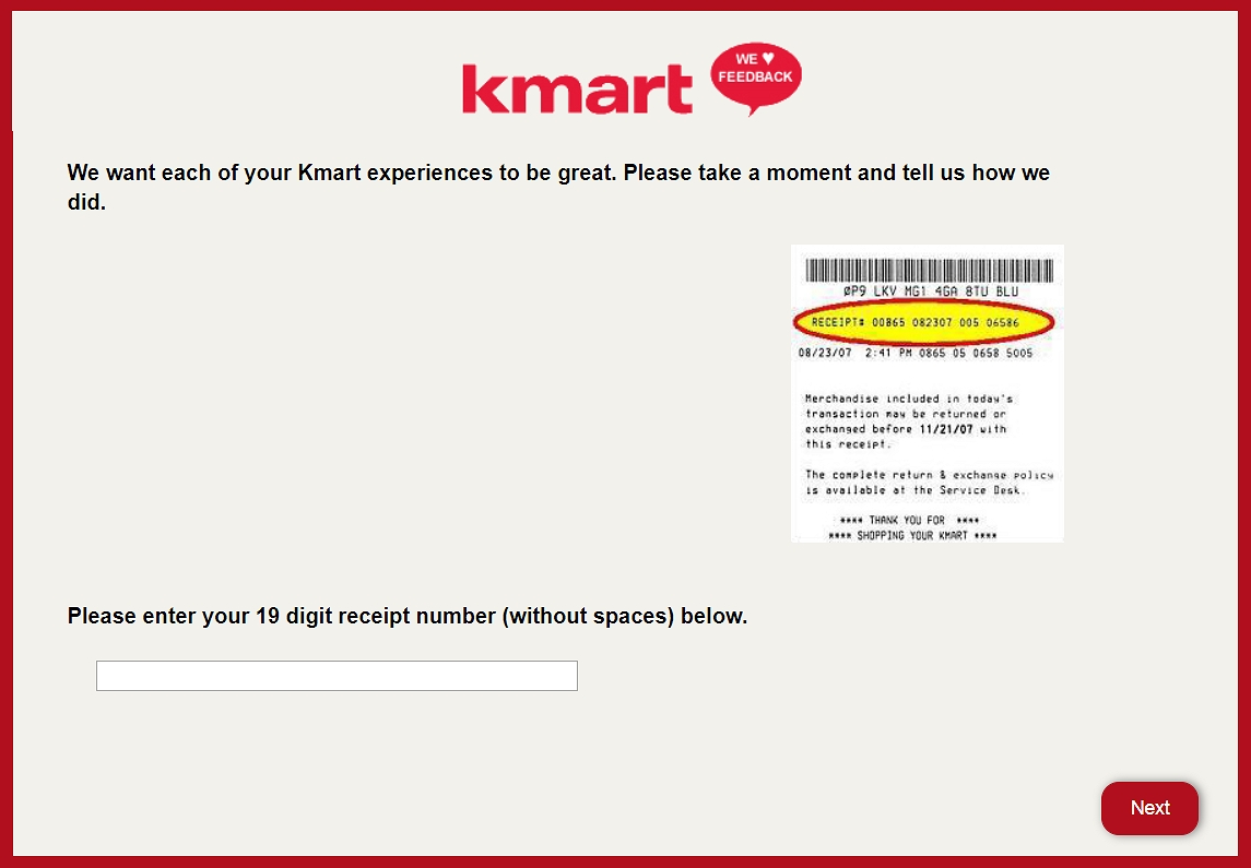 kmartfeedback.com survey page in english