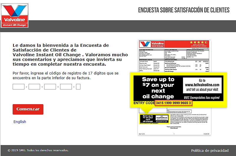 homepage of tellvalvoline espanol survey