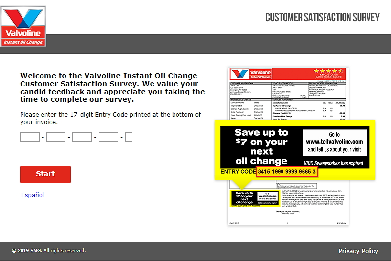 tellvalvoline.com survey homepage