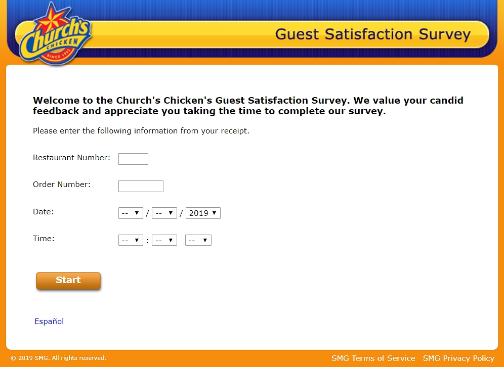 The homepage of www.churchschickenfeedback.com