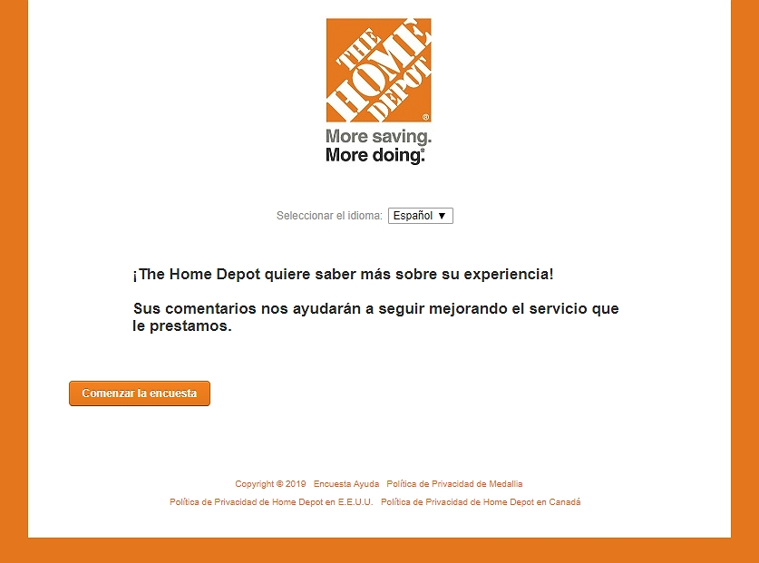 homepage of www.homedepot.com/survey español