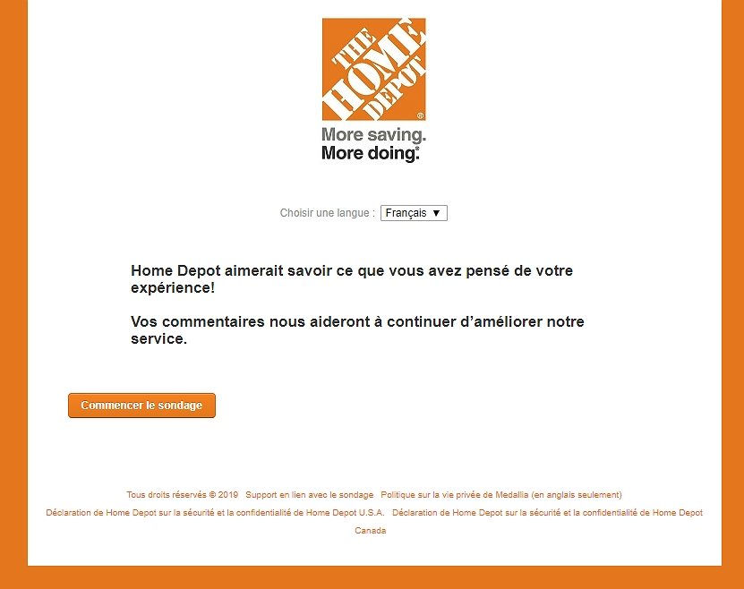 homepage of www.homedepot.com/survey français