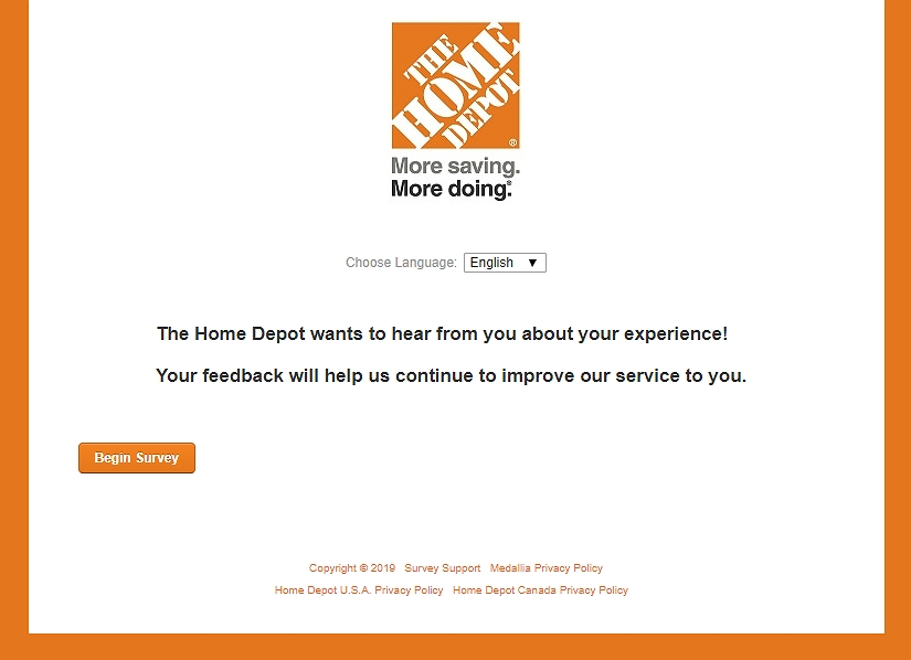 homepage of www.homedepot.com/survey